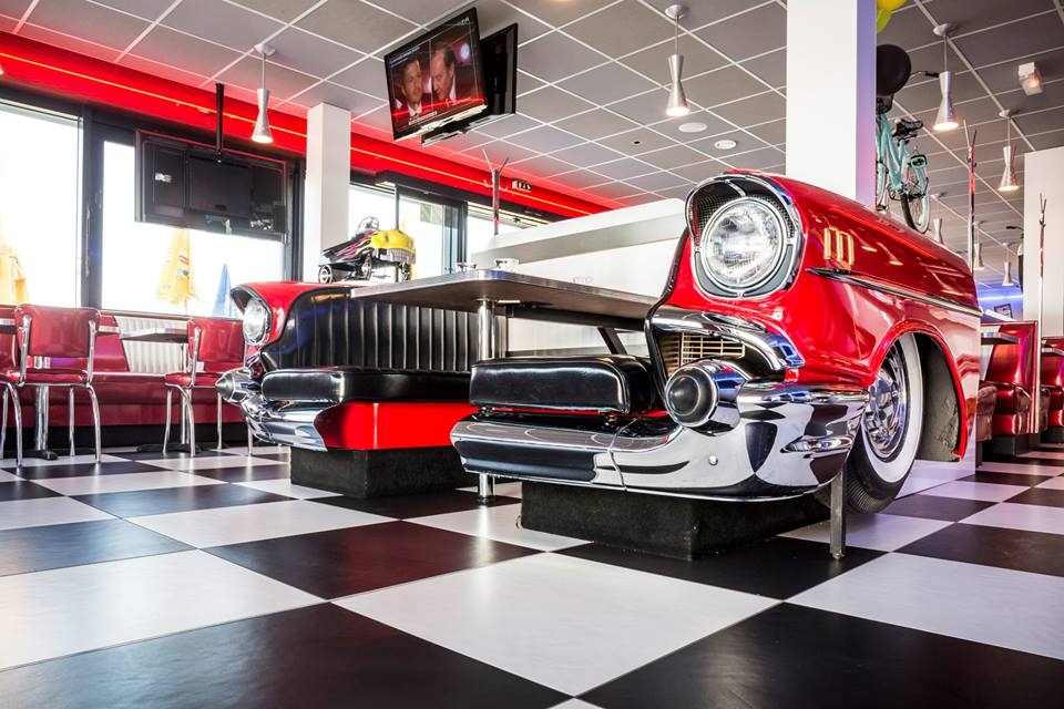 New retro cars restored classic car furniture and decor for American classic diner