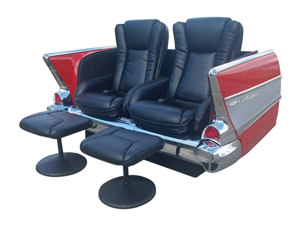 1957 Chevy Bel Air Car Couch with Dual Bucket Recliner Massage Seats